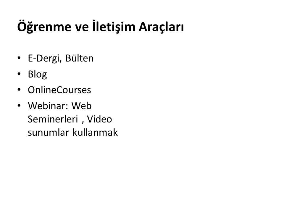 Öğrenme ve İletişim Araçları E-Dergi, Bülten Blog OnlineCourses Webinar: Web Seminerleri, Video sunumlar kullanmak