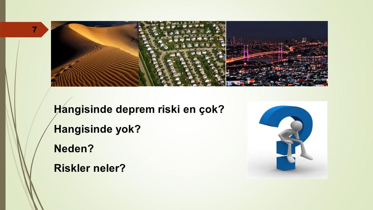 Hangisinde deprem riski en çok? Hangisinde yok? Neden? Riskler neler? 7