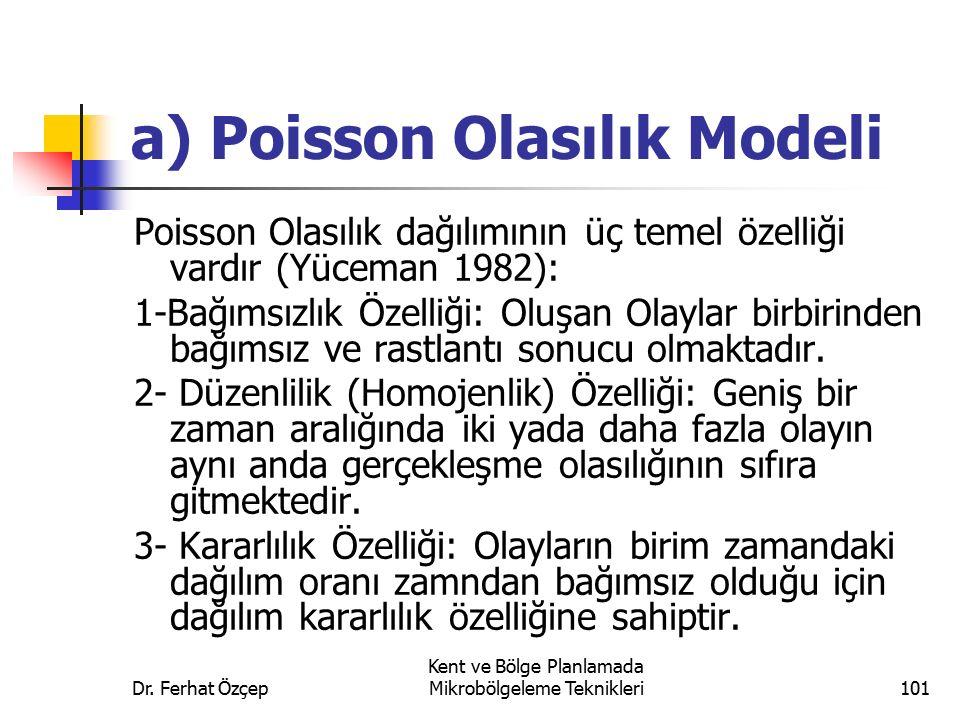 Dr. Ferhat Özçep Kent ve Bölge Planlamada Mikrobölgeleme Teknikleri101 a) Poisson Olasılık Modeli Poisson Olasılık dağılımının üç temel özelliği vardı