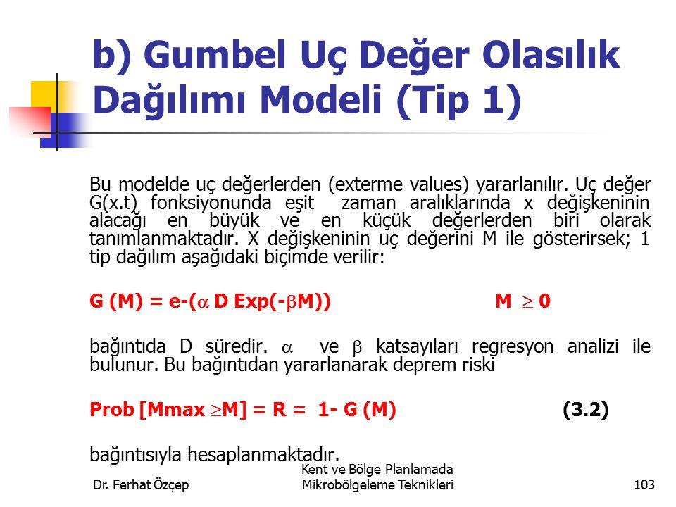 Dr. Ferhat Özçep Kent ve Bölge Planlamada Mikrobölgeleme Teknikleri103 b) Gumbel Uç Değer Olasılık Dağılımı Modeli (Tip 1) Bu modelde uç değerlerden (