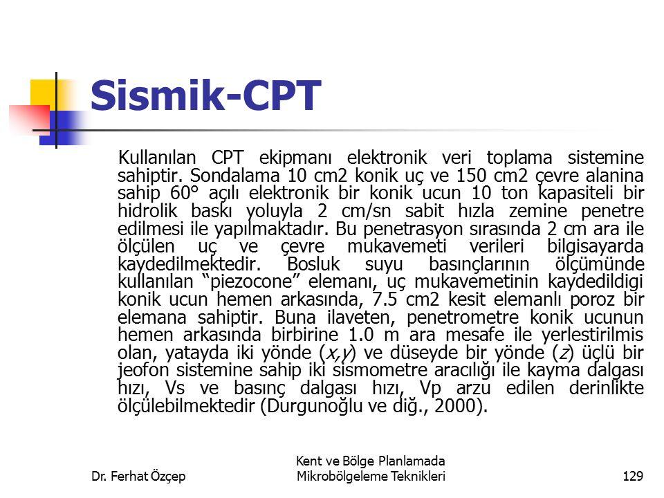 Dr. Ferhat Özçep Kent ve Bölge Planlamada Mikrobölgeleme Teknikleri129 Sismik-CPT Kullanılan CPT ekipmanı elektronik veri toplama sistemine sahiptir.