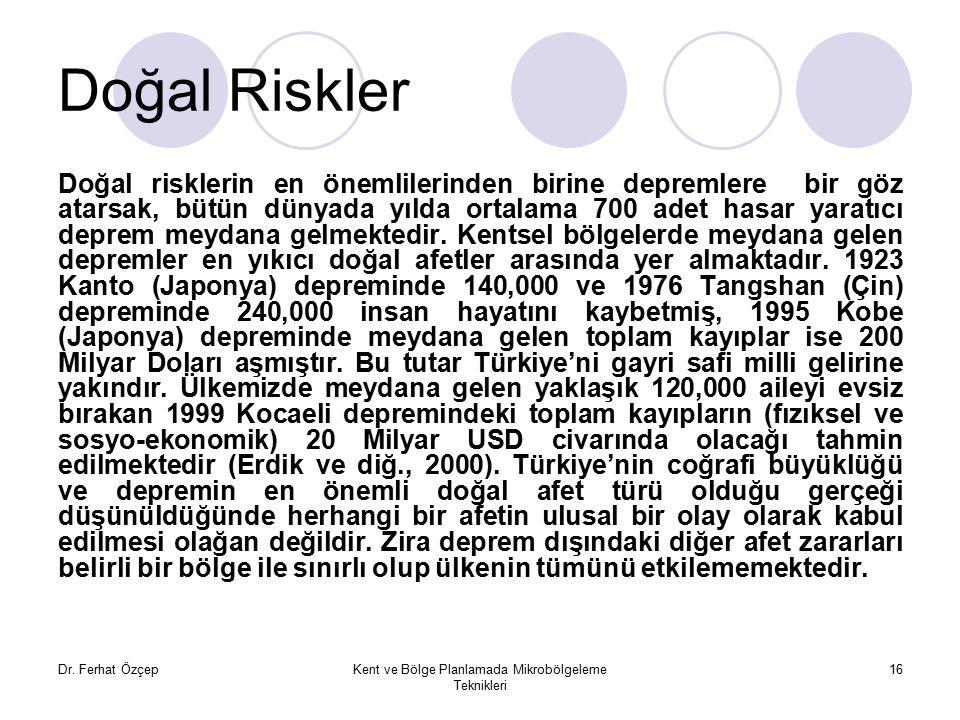 Dr. Ferhat ÖzçepKent ve Bölge Planlamada Mikrobölgeleme Teknikleri 16 Doğal Riskler Doğal risklerin en önemlilerinden birine depremlere bir göz atarsa