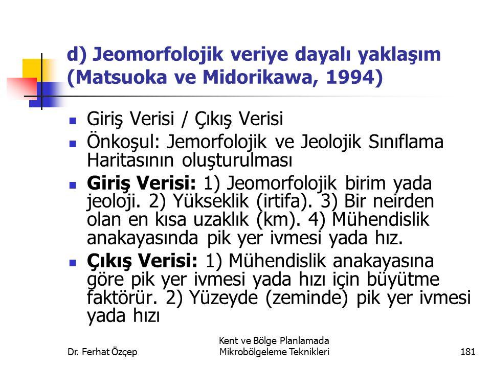 Dr. Ferhat Özçep Kent ve Bölge Planlamada Mikrobölgeleme Teknikleri181 d) Jeomorfolojik veriye dayalı yaklaşım (Matsuoka ve Midorikawa, 1994) Giriş Ve