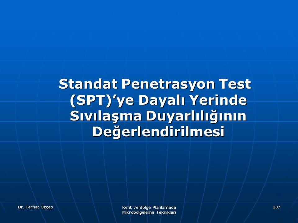 Dr. Ferhat Özçep Kent ve Bölge Planlamada Mikrobölgeleme Teknikleri 237 Standat Penetrasyon Test (SPT)'ye Dayalı Yerinde Sıvılaşma Duyarlılığının Değe