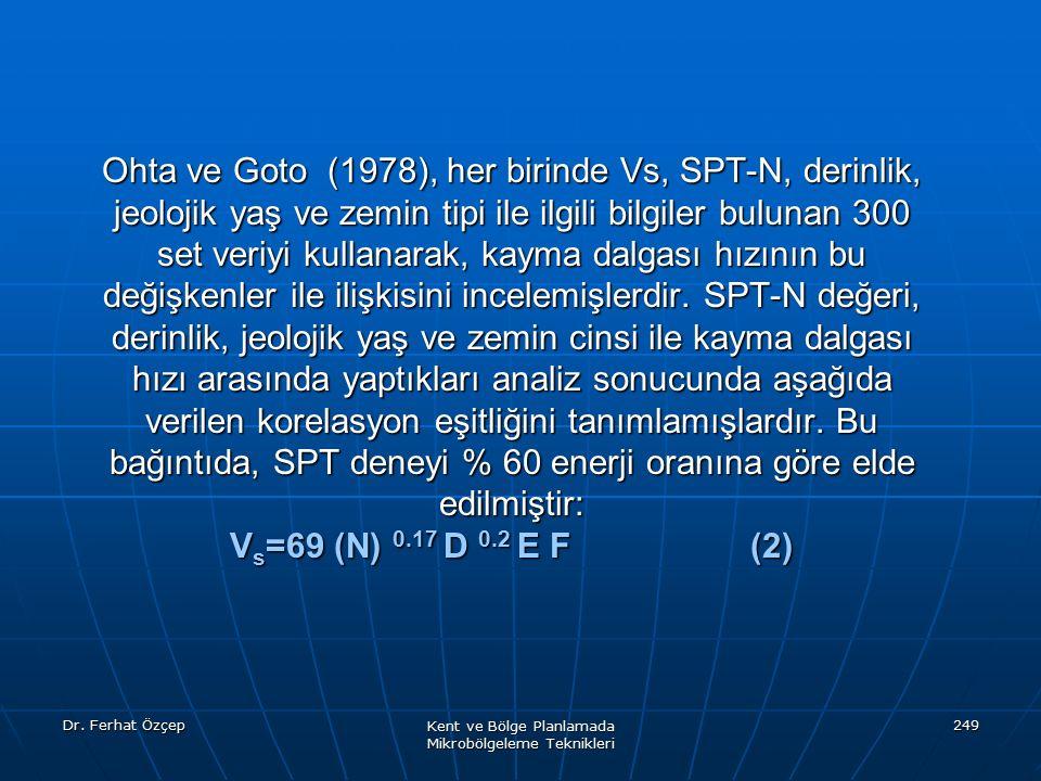 Dr. Ferhat Özçep Kent ve Bölge Planlamada Mikrobölgeleme Teknikleri 249 Ohta ve Goto (1978), her birinde Vs, SPT-N, derinlik, jeolojik yaş ve zemin ti