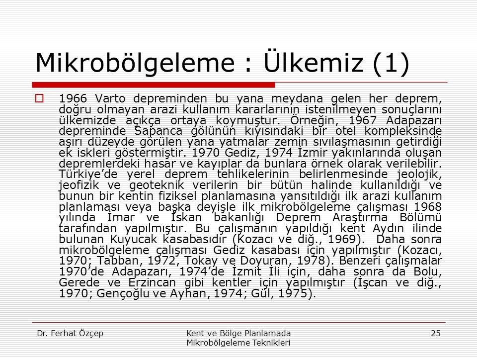 Dr. Ferhat ÖzçepKent ve Bölge Planlamada Mikrobölgeleme Teknikleri 25 Mikrobölgeleme : Ülkemiz (1)  1966 Varto depreminden bu yana meydana gelen her