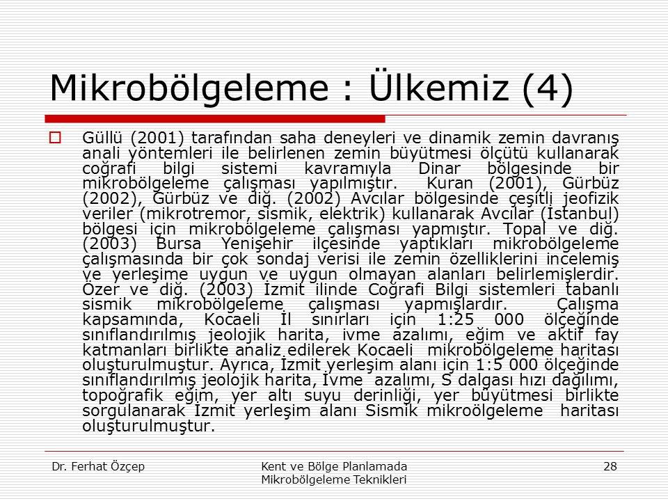 Dr. Ferhat ÖzçepKent ve Bölge Planlamada Mikrobölgeleme Teknikleri 28 Mikrobölgeleme : Ülkemiz (4)  Güllü (2001) tarafından saha deneyleri ve dinamik