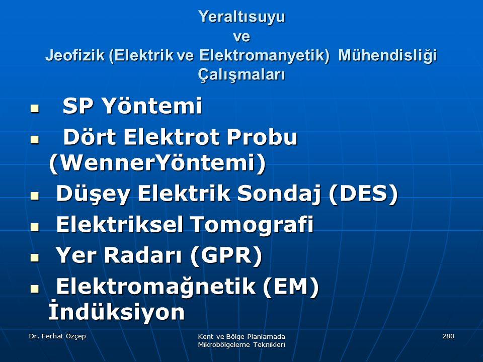 Dr. Ferhat Özçep Kent ve Bölge Planlamada Mikrobölgeleme Teknikleri 280 Yeraltısuyu ve Jeofizik (Elektrik ve Elektromanyetik) Mühendisliği Çalışmaları