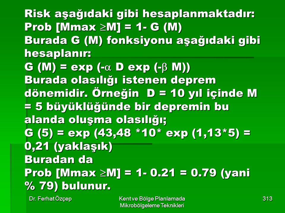 Dr. Ferhat ÖzçepKent ve Bölge Planlamada Mikrobölgeleme Teknikleri 313 Risk aşağıdaki gibi hesaplanmaktadır: Prob [Mmax  M] = 1- G (M) Burada G (M) f