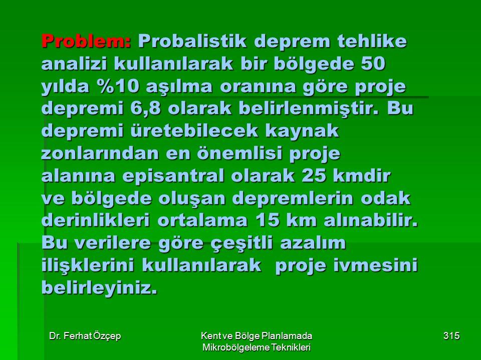 Dr. Ferhat ÖzçepKent ve Bölge Planlamada Mikrobölgeleme Teknikleri 315 Problem: Probalistik deprem tehlike analizi kullanılarak bir bölgede 50 yılda %