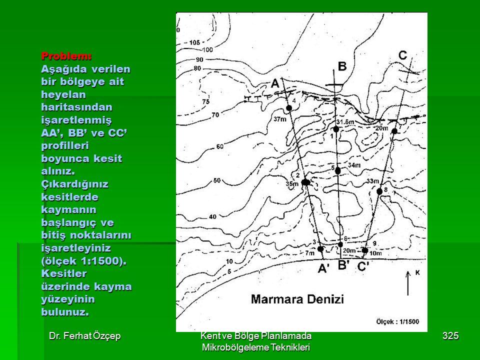 Dr. Ferhat ÖzçepKent ve Bölge Planlamada Mikrobölgeleme Teknikleri 325 Problem: Aşağıda verilen bir bölgeye ait heyelan haritasından işaretlenmiş AA',