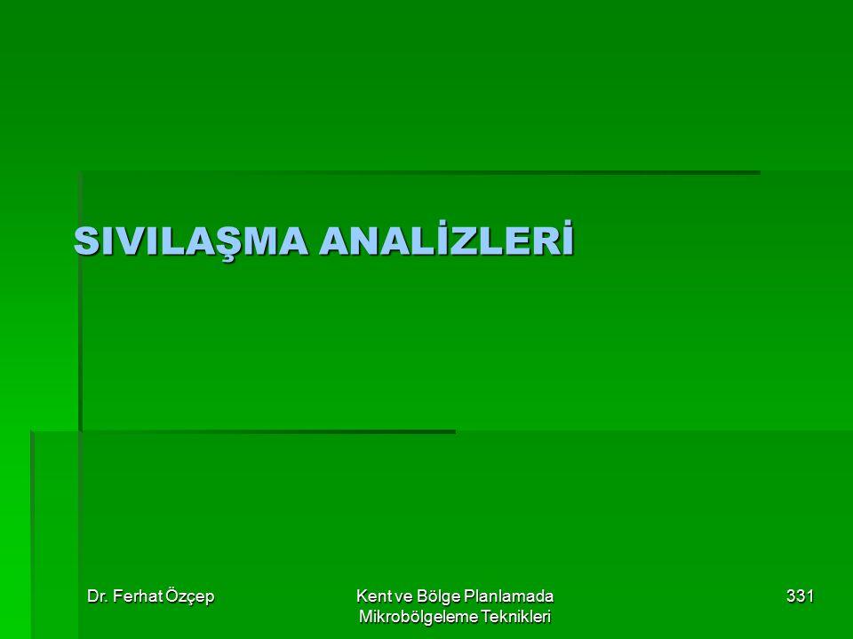 Dr. Ferhat ÖzçepKent ve Bölge Planlamada Mikrobölgeleme Teknikleri 331 SIVILAŞMA ANALİZLERİ