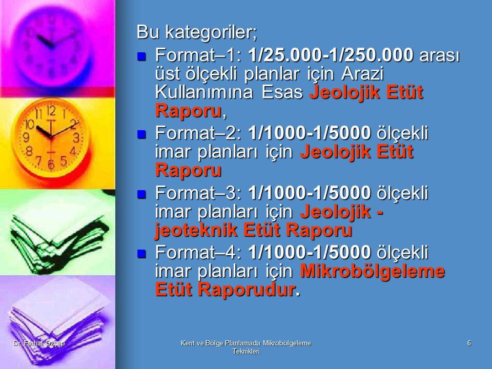 Dr. Ferhat ÖzçepKent ve Bölge Planlamada Mikrobölgeleme Teknikleri 6 Bu kategoriler; Format–1: 1/25.000-1/250.000 arası üst ölçekli planlar için Arazi