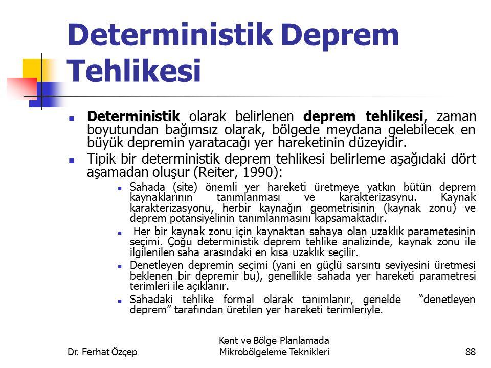 Dr. Ferhat Özçep Kent ve Bölge Planlamada Mikrobölgeleme Teknikleri88 Deterministik Deprem Tehlikesi Deterministik olarak belirlenen deprem tehlikesi,