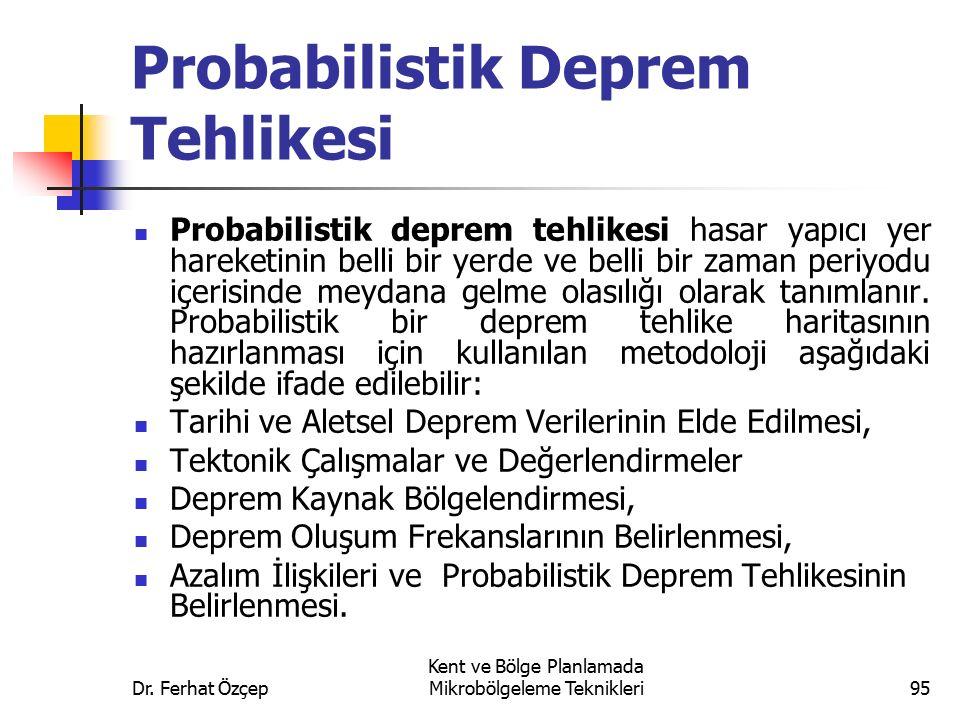 Dr. Ferhat Özçep Kent ve Bölge Planlamada Mikrobölgeleme Teknikleri95 Probabilistik Deprem Tehlikesi Probabilistik deprem tehlikesi hasar yapıcı yer h