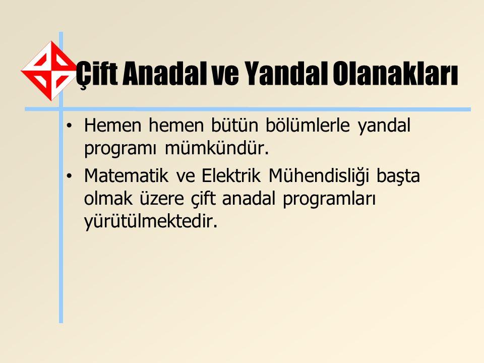 Çift Anadal ve Yandal Olanakları Hemen hemen bütün bölümlerle yandal programı mümkündür. Matematik ve Elektrik Mühendisliği başta olmak üzere çift ana