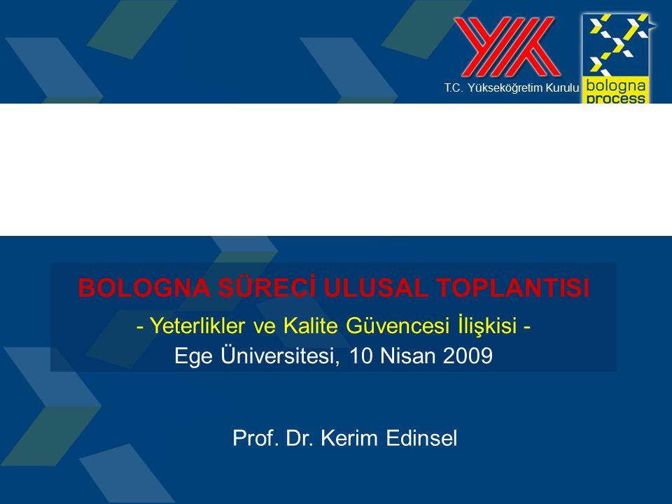 T.C. Yükseköğretim Kurulu BOLOGNA SÜRECİ ULUSAL TOPLANTISI - Yeterlikler ve Kalite Güvencesi İlişkisi - Ege Üniversitesi, 10 Nisan 2009 Prof. Dr. Keri