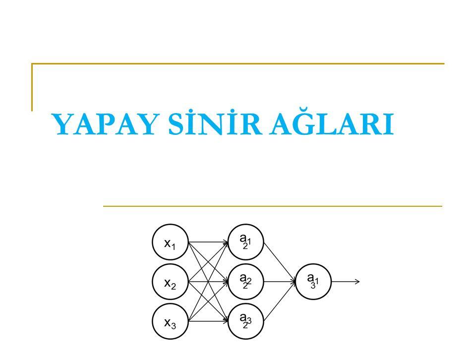 Geri yayılım algoritması Geri yayılım algoritmasında bu sorun şu şekilde çözülüyor: x1x1 x2x2 x3x3 a12a12 a22a22 a32a32 a13a13