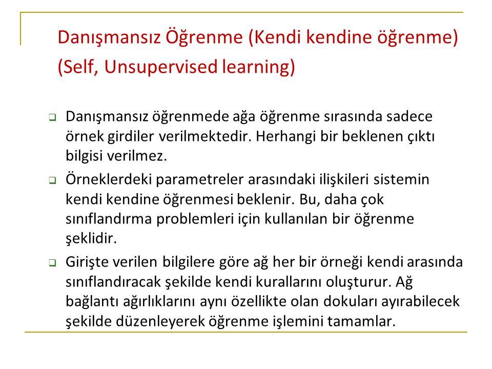 Danışmansız Öğrenme (Kendi kendine öğrenme) (Self, Unsupervised learning)  Danışmansız öğrenmede ağa öğrenme sırasında sadece örnek girdiler verilmektedir.