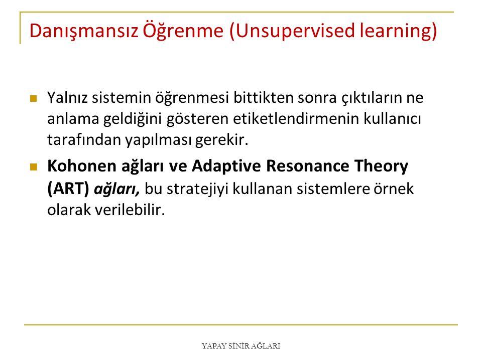Danışmansız Öğrenme (Unsupervised learning) Yalnız sistemin öğrenmesi bittikten sonra çıktıların ne anlama geldiğini gösteren etiketlendirmenin kullan