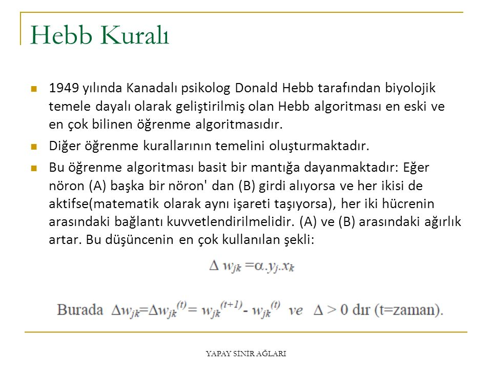 Hebb Kuralı 1949 yılında Kanadalı psikolog Donald Hebb tarafından biyolojik temele dayalı olarak geliştirilmiş olan Hebb algoritması en eski ve en çok bilinen öğrenme algoritmasıdır.