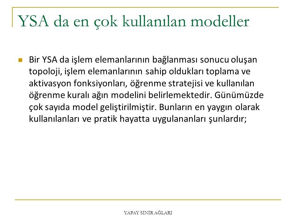 YSA da en çok kullanılan modeller Bir YSA da işlem elemanlarının bağlanması sonucu oluşan topoloji, işlem elemanlarının sahip oldukları toplama ve aktivasyon fonksiyonları, öğrenme stratejisi ve kullanılan öğrenme kuralı ağın modelini belirlemektedir.