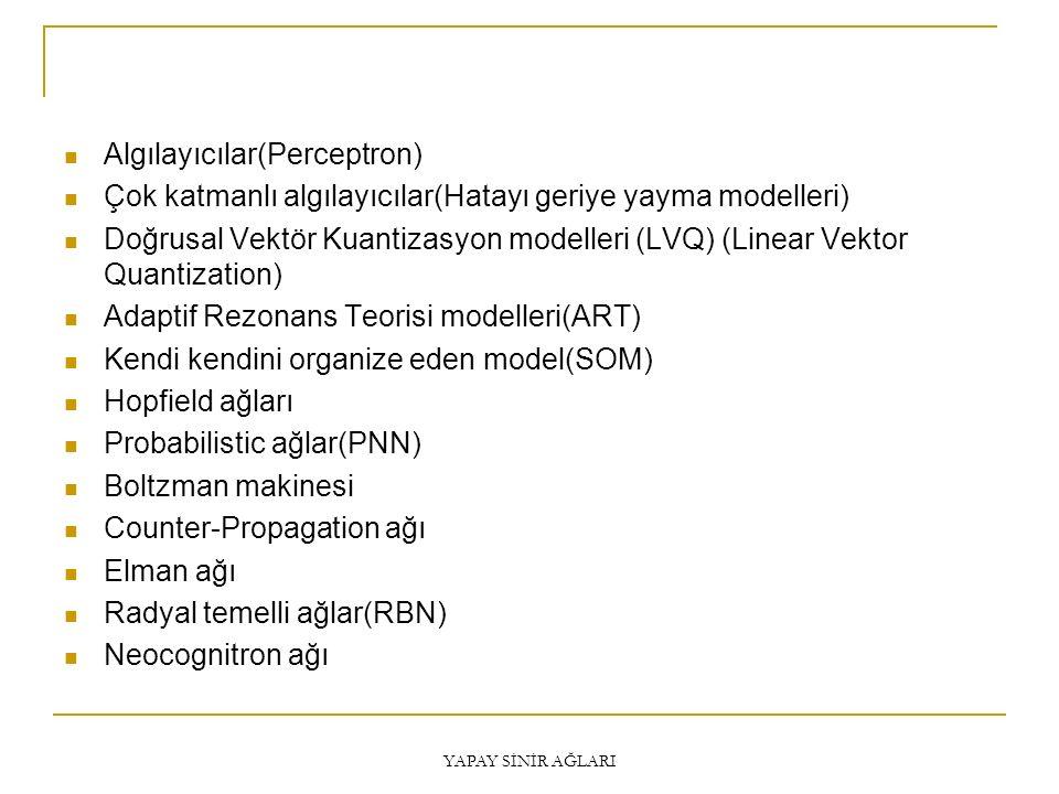 Algılayıcılar(Perceptron) Çok katmanlı algılayıcılar(Hatayı geriye yayma modelleri) Doğrusal Vektör Kuantizasyon modelleri (LVQ) (Linear Vektor Quanti