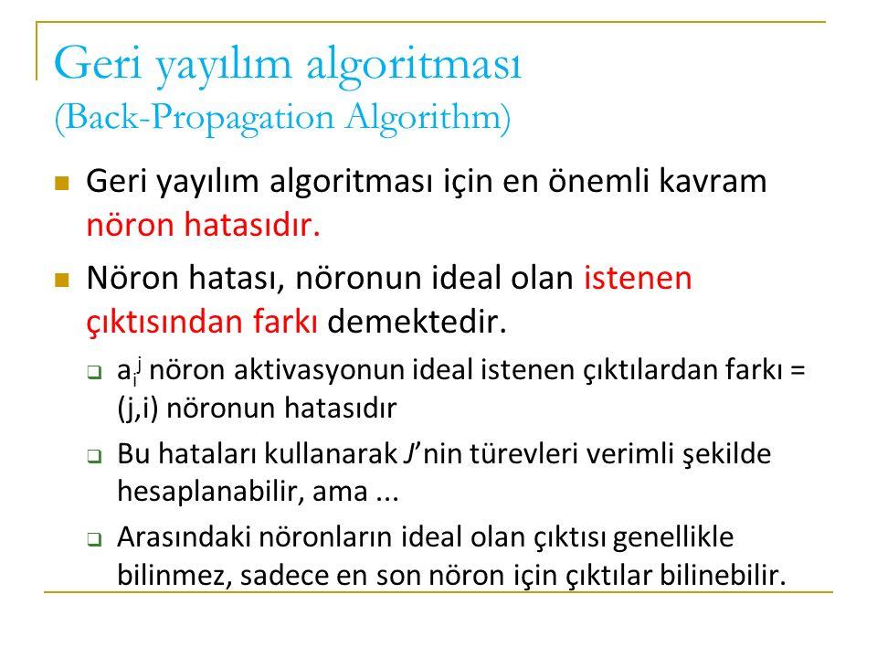 Geri yayılım algoritması (Back-Propagation Algorithm) Geri yayılım algoritması için en önemli kavram nöron hatasıdır. Nöron hatası, nöronun ideal olan