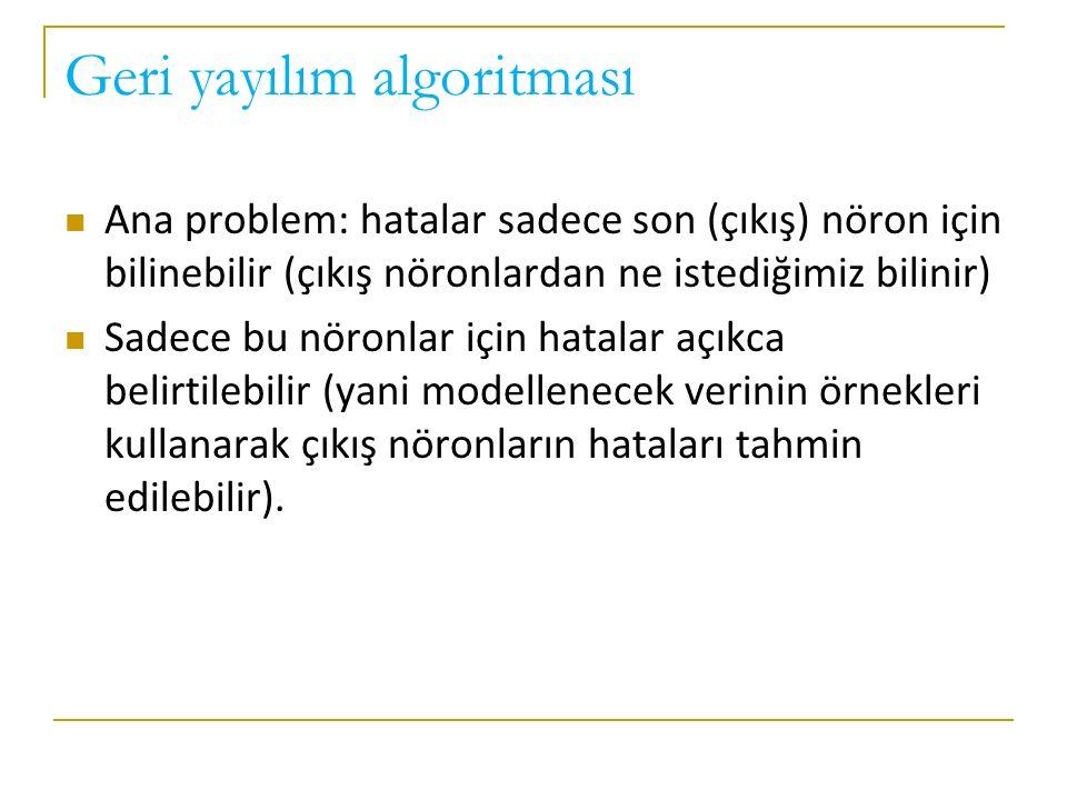 Geri yayılım algoritması Ana problem: hatalar sadece son (çıkış) nöron için bilinebilir (çıkış nöronlardan ne istediğimiz bilinir) Sadece bu nöronlar için hatalar açıkca belirtilebilir (yani modellenecek verinin örnekleri kullanarak çıkış nöronların hataları tahmin edilebilir).
