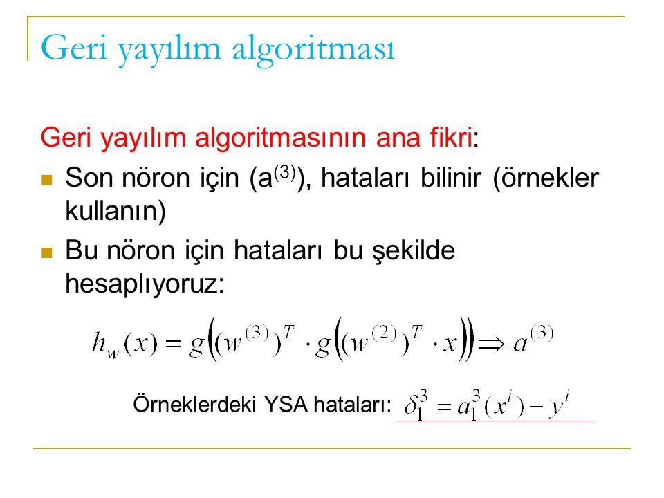 Geri yayılım algoritması Geri yayılım algoritmasının ana fikri: Son nöron için (a (3) ), hataları bilinir (örnekler kullanın) Bu nöron için hataları bu şekilde hesaplıyoruz: Örneklerdeki YSA hataları: