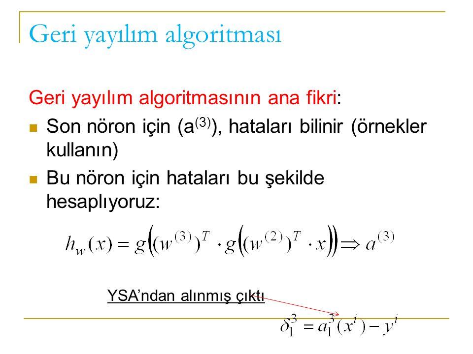 Geri yayılım algoritması Geri yayılım algoritmasının ana fikri: Son nöron için (a (3) ), hataları bilinir (örnekler kullanın) Bu nöron için hataları bu şekilde hesaplıyoruz: YSA'ndan alınmış çıktı
