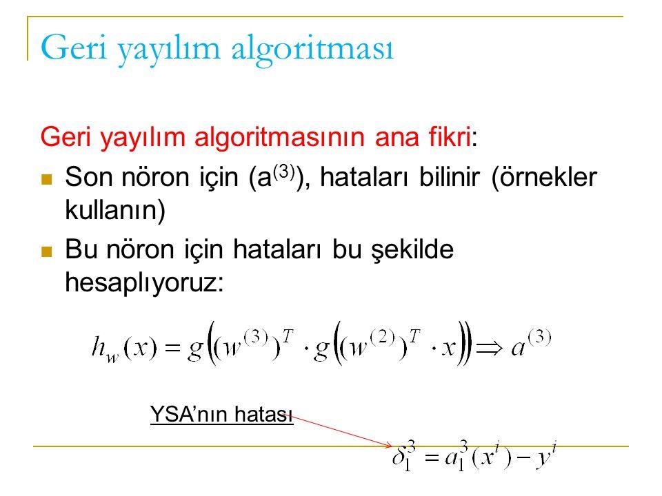 Geri yayılım algoritması Geri yayılım algoritmasının ana fikri: Son nöron için (a (3) ), hataları bilinir (örnekler kullanın) Bu nöron için hataları bu şekilde hesaplıyoruz: YSA'nın hatası