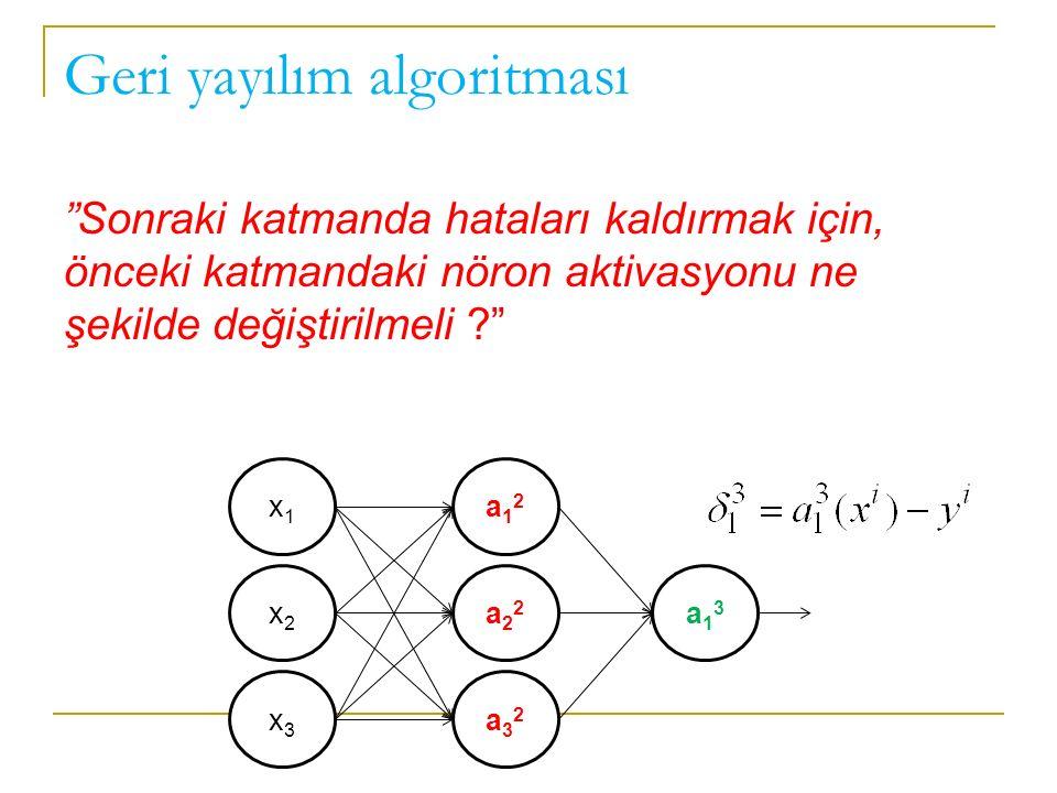 Geri yayılım algoritması Sonraki katmanda hataları kaldırmak için, önceki katmandaki nöron aktivasyonu ne şekilde değiştirilmeli ? x1x1 x2x2 x3x3 a12a12 a22a22 a32a32 a13a13