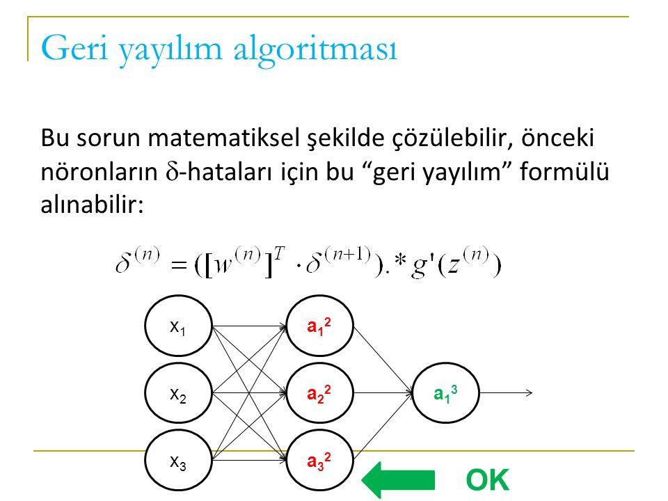 Geri yayılım algoritması Bu sorun matematiksel şekilde çözülebilir, önceki nöronların  -hataları için bu geri yayılım formülü alınabilir: x1x1 x2x2 x3x3 a12a12 a22a22 a32a32 a13a13 OK
