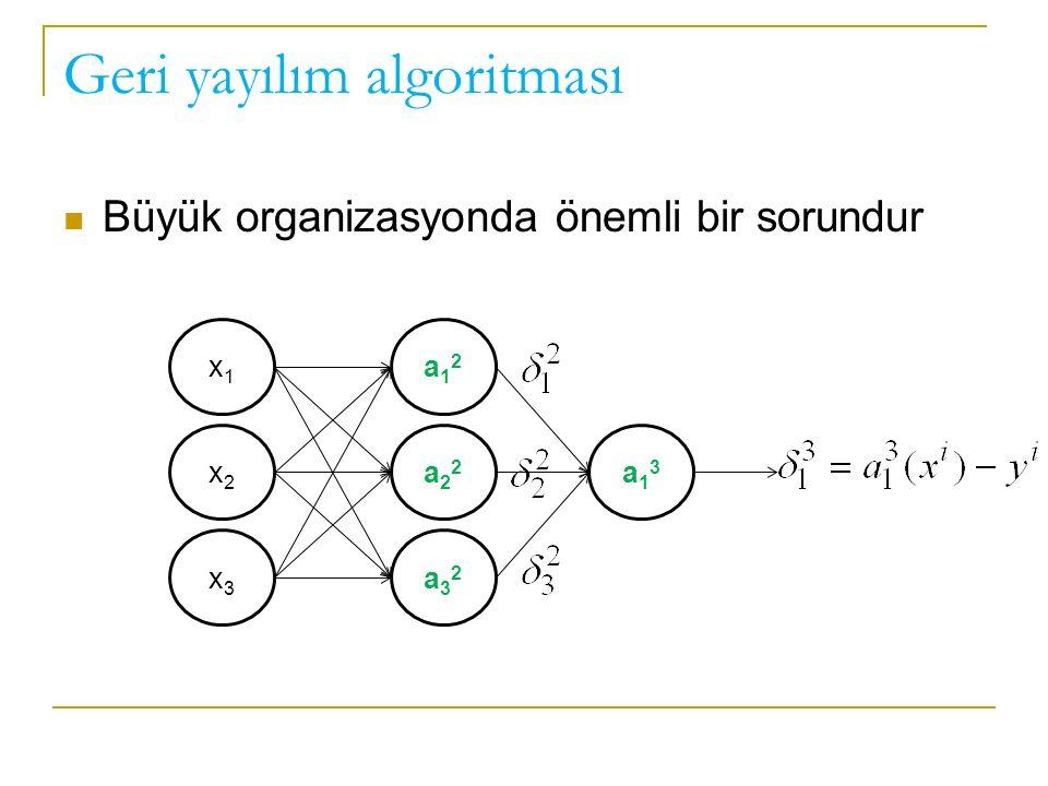 Geri yayılım algoritması Büyük organizasyonda önemli bir sorundur x1x1 x2x2 x3x3 a12a12 a22a22 a32a32 a13a13