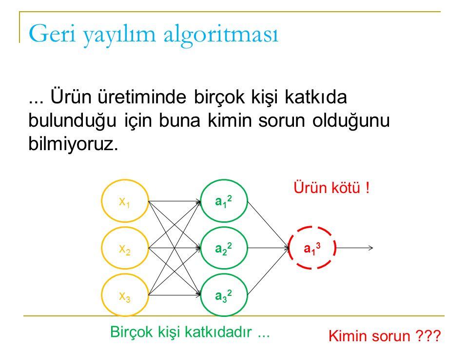 Geri yayılım algoritması... Ürün üretiminde birçok kişi katkıda bulunduğu için buna kimin sorun olduğunu bilmiyoruz. x1x1 x2x2 x3x3 a12a12 a22a22 a32a