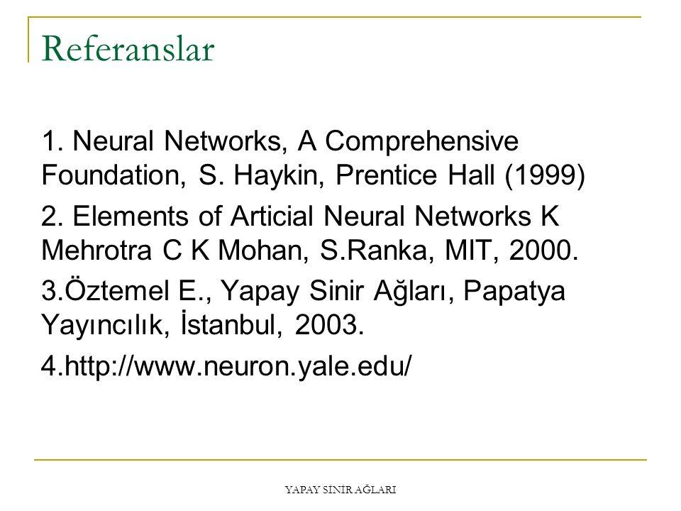 Referanslar 1. Neural Networks, A Comprehensive Foundation, S. Haykin, Prentice Hall (1999) 2. Elements of Articial Neural Networks K Mehrotra C K Moh