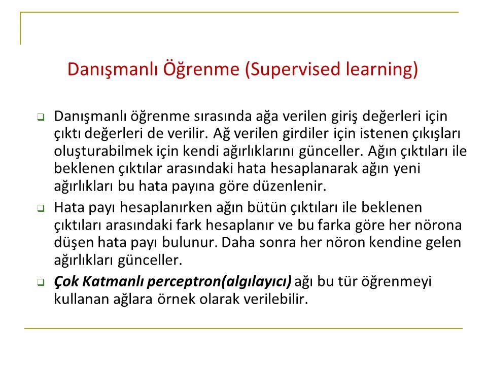 Danışmanlı Öğrenme (Supervised learning)  Danışmanlı öğrenme sırasında ağa verilen giriş değerleri için çıktı değerleri de verilir. Ağ verilen girdil