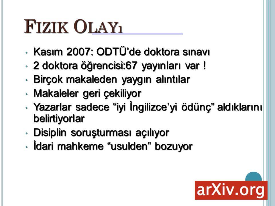 F IZIK O LAYı Kasım 2007: ODTÜ'de doktora sınavı Kasım 2007: ODTÜ'de doktora sınavı 2 doktora öğrencisi:67 yayınları var .