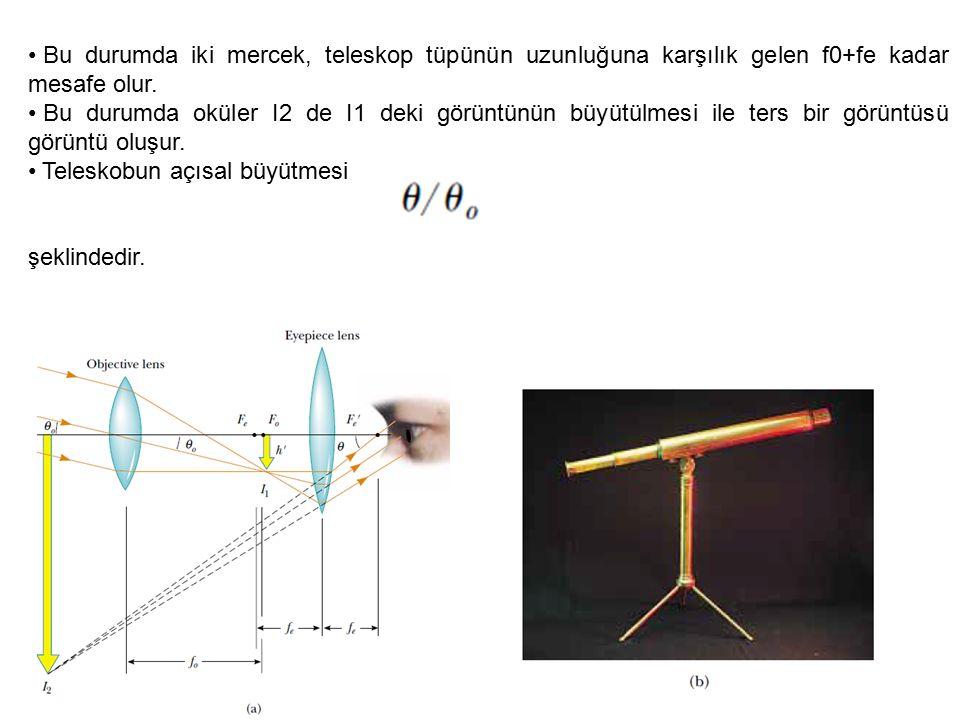 Bu durumda iki mercek, teleskop tüpünün uzunluğuna karşılık gelen f0+fe kadar mesafe olur. Bu durumda oküler I2 de I1 deki görüntünün büyütülmesi ile