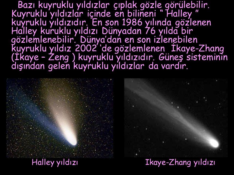 """Bazı kuyruklu yıldızlar çıplak gözle görülebilir. Kuyruklu yıldızlar içinde en bilineni """" Halley """" kuyruklu yıldızıdır. En son 1986 yılında gözlenen H"""