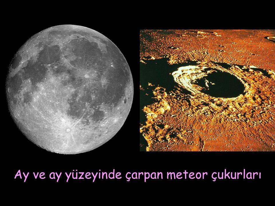 Ay ve ay yüzeyinde çarpan meteor çukurları