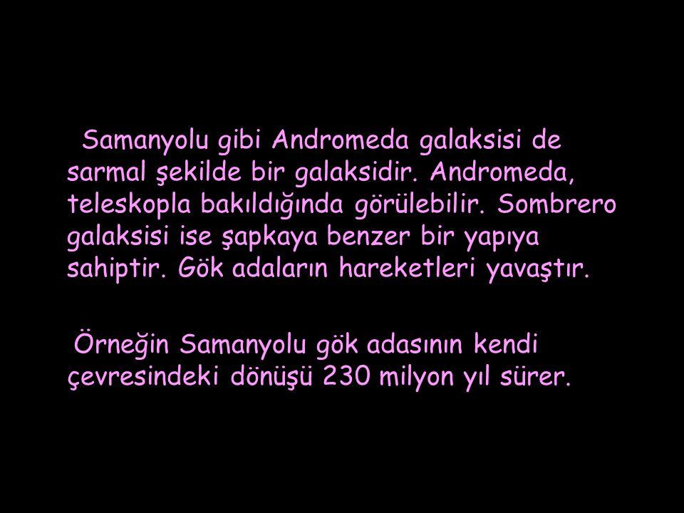 Samanyolu gibi Andromeda galaksisi de sarmal şekilde bir galaksidir. Andromeda, teleskopla bakıldığında görülebilir. Sombrero galaksisi ise şapkaya be