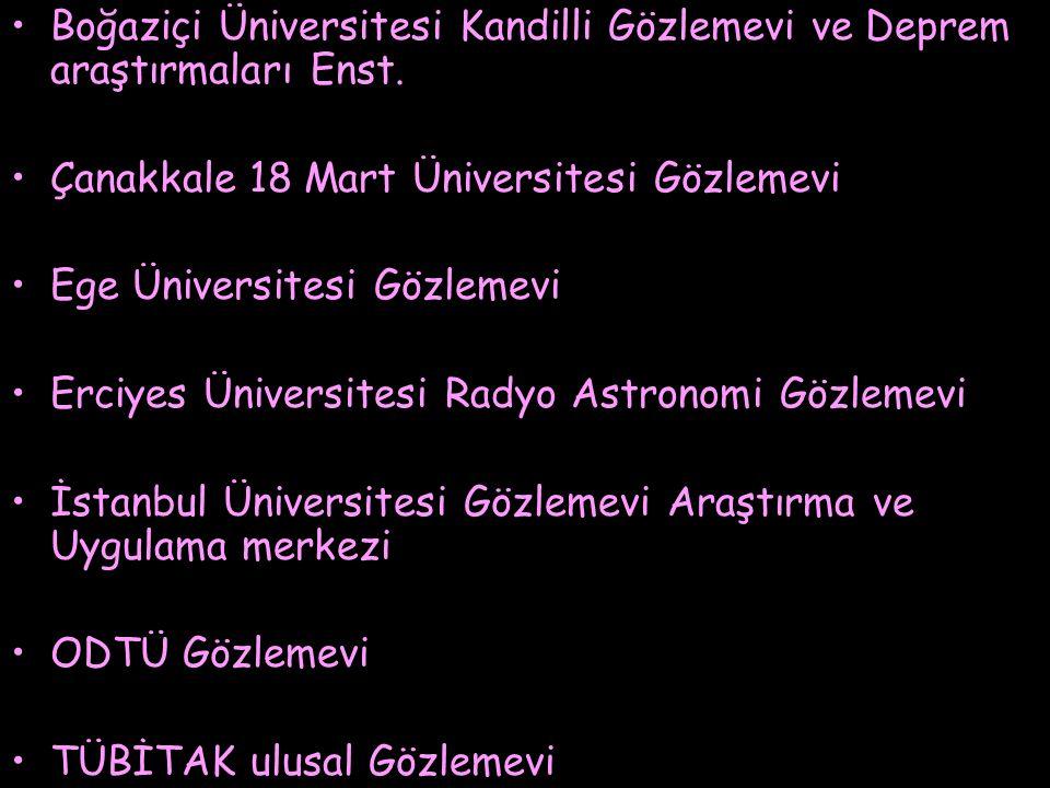 Boğaziçi Üniversitesi Kandilli Gözlemevi ve Deprem araştırmaları Enst. Çanakkale 18 Mart Üniversitesi Gözlemevi Ege Üniversitesi Gözlemevi Erciyes Üni