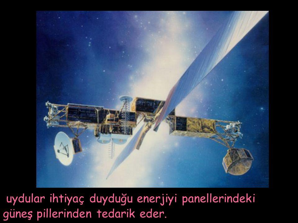 uydular ihtiyaç duyduğu enerjiyi panellerindeki güneş pillerinden tedarik eder.