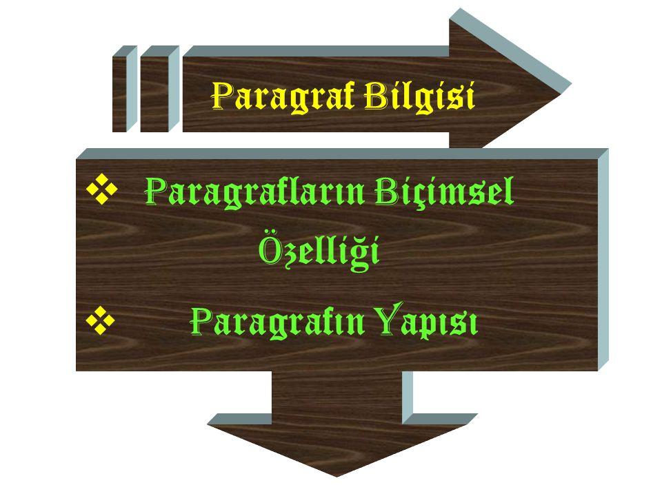 P aragraf B ilgisi  P aragrafların B içimsel Ö zelli ğ i  P aragrafın Y apısı