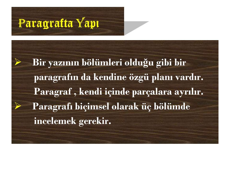 P aragrafta Y apı  Bir yazının bölümleri oldu ğ u gibi bir paragrafın da kendine özgü planı vardır.