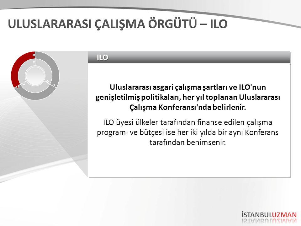 ILOILO Uluslararası asgari çalışma şartları ve ILO nun genişletilmiş politikaları, her yıl toplanan Uluslararası Çalışma Konferansı nda belirlenir.