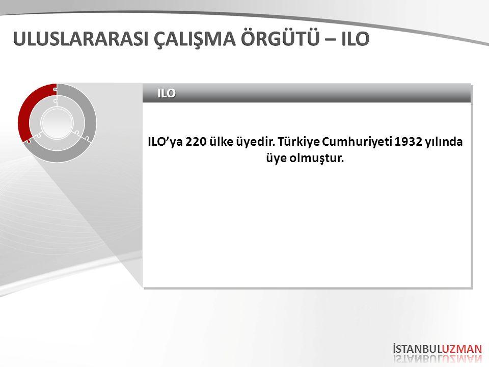 ILOILO ILO'ya 220 ülke üyedir. Türkiye Cumhuriyeti 1932 yılında üye olmuştur.