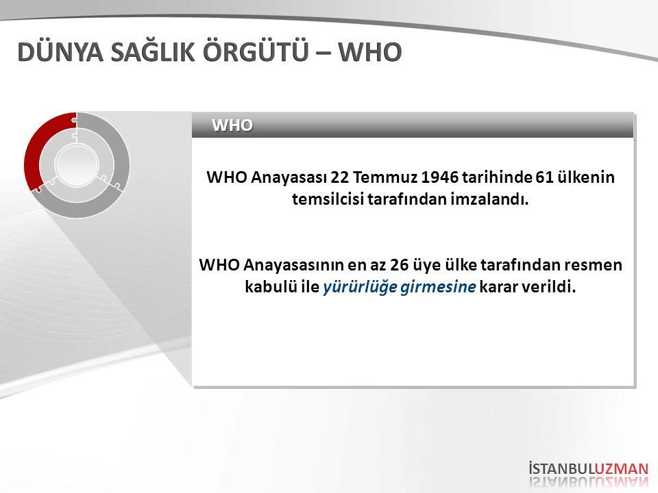 WHOWHO WHO Anayasası 22 Temmuz 1946 tarihinde 61 ülkenin temsilcisi tarafından imzalandı.